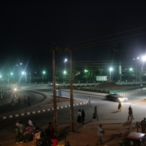 Oba Ovoramwen Square at night
